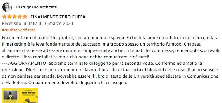 Castrignano Architetti recensione Brand Raptors positioning